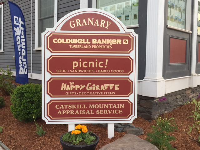 The new directory sign at the Granary Building in Margaretville.