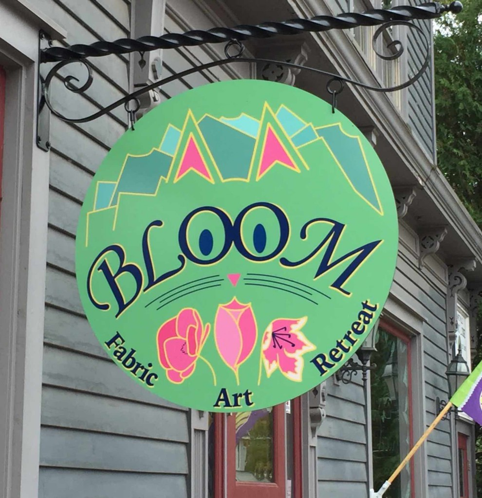 New sign (and custom bracket) at Bloom Fabric, Art & Retreat in Margaretville